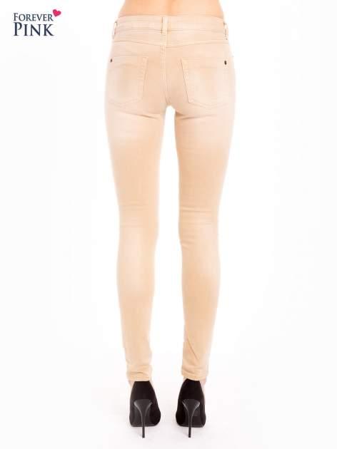 Beżowe spodnie jeansowe super skinny                                  zdj.                                  3