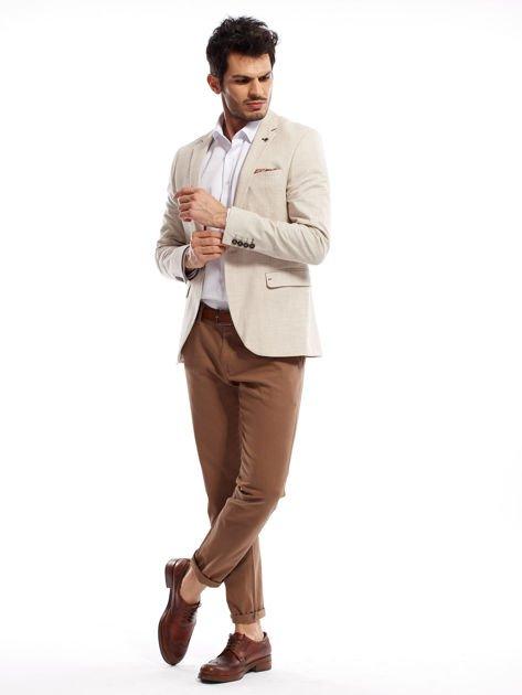 Beżowe spodnie męskie chinos                              zdj.                              9