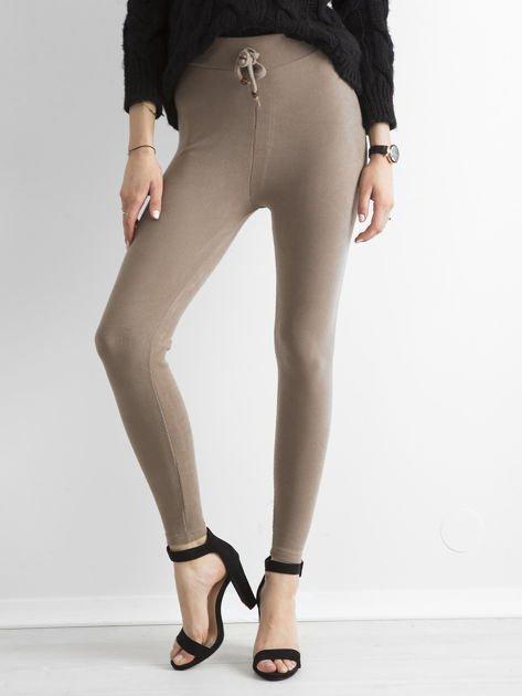 Beżowe sztruksowe legginsy                              zdj.                              1