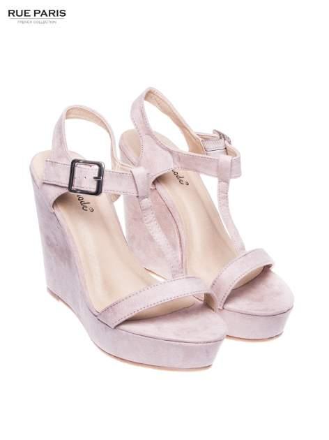 Beżowe zamszowe sandały t-bary na koturnie                                  zdj.                                  2