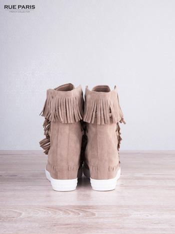Beżowe zamszowe sneakersy Aravia z frędzelkami na koturnach                                  zdj.                                  3