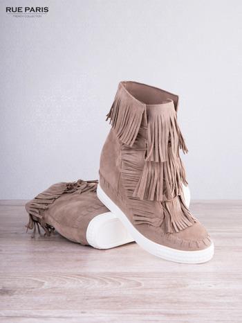 Beżowe zamszowe sneakersy Aravia z frędzelkami na koturnach                                  zdj.                                  4