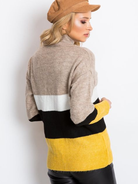 Beżowo-biały sweter Denise                              zdj.                              2
