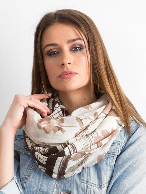 Beżowo-brązowa bawełniana chusta we wzory