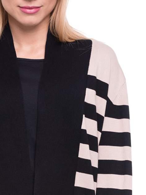 Beżowo-czarny pasiasty otwarty sweter kardigan z prążkowanym kołnierzem                                  zdj.                                  5