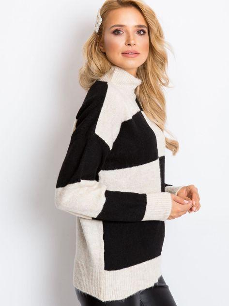 Beżowo-czarny sweter Francesca                              zdj.                              3