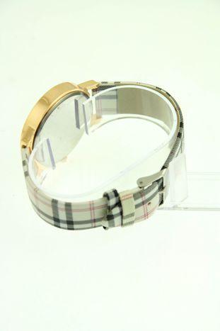 Beżowo-czarny zegarek damski na pasiastym pasku                                  zdj.                                  2