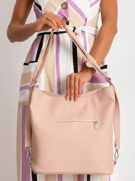 Beżowo-różowa torba city bag                              zdj.                              2