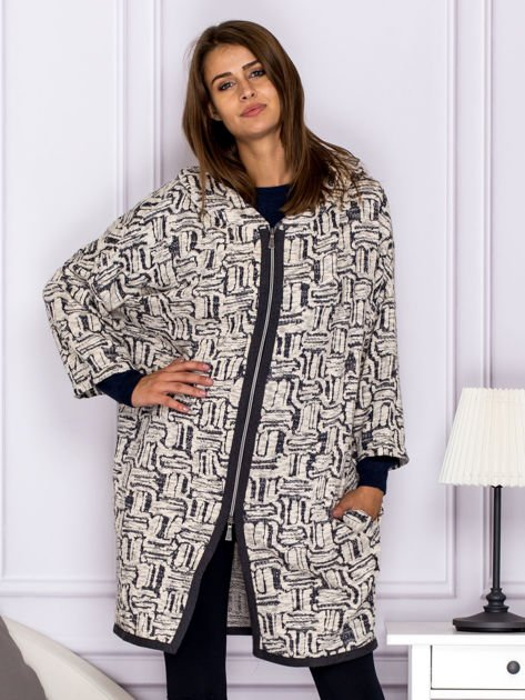 Beżowo-szary wzorzysty sweter z kapturem                              zdj.                              1