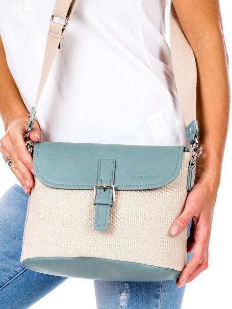 Beżowo-zielona materiałowa torba z klapką                              zdj.                              2