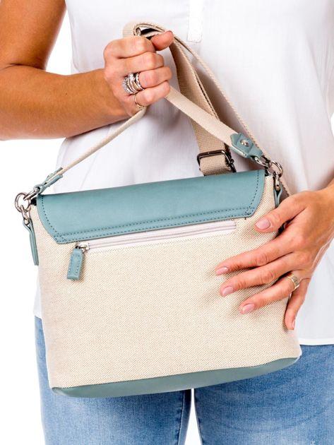 Beżowo-zielona materiałowa torba z klapką                              zdj.                              4