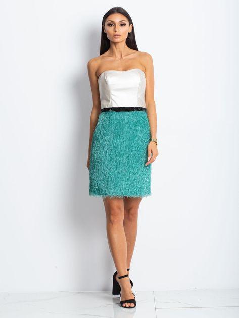 Beżowo-zielona sukienka z frędzelkami                               zdj.                              3