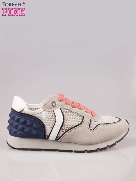 Beżowoniebieskie buty sportowe Dragon z siateczką na wysokiej podeszwie                                  zdj.                                  1