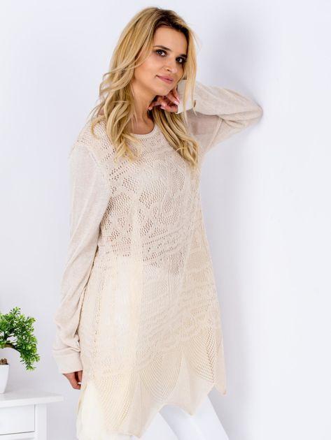 Beżowy ażurowy sweter damski                              zdj.                              3