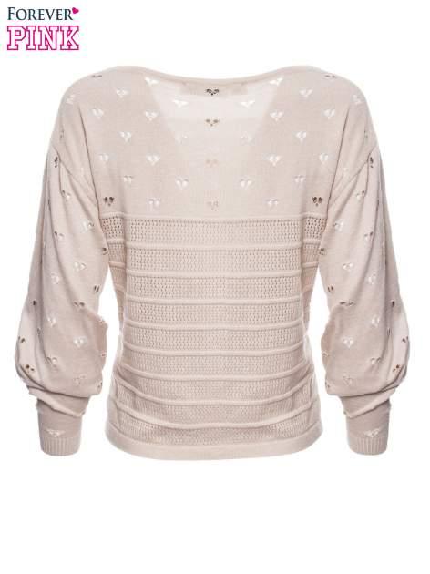 Beżowy ażurowy sweter w serduszka                                  zdj.                                  6