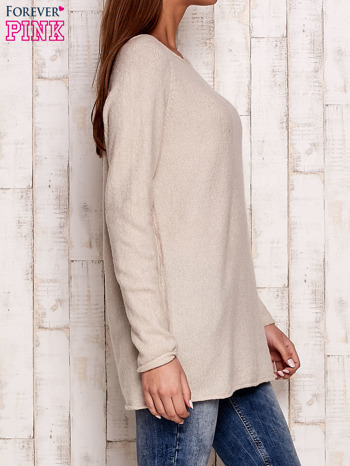 Beżowy dzianinowy sweter                                   zdj.                                  3