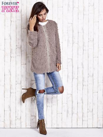 Beżowy futrzany sweter kurtka na suwak                                  zdj.                                  2