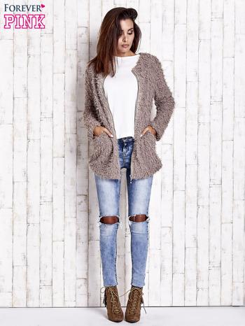 Beżowy futrzany sweter kurtka na suwak                                  zdj.                                  8