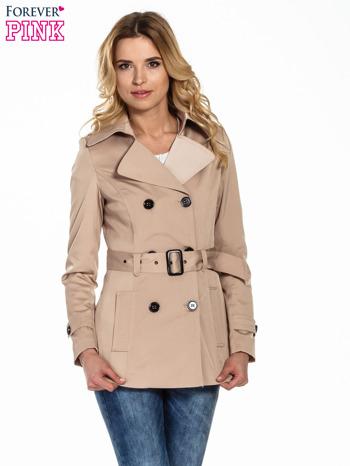 Beżowy krótki płaszcz trencz                                  zdj.                                  1