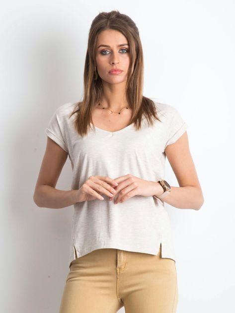 Beżowy melanżowy t-shirt Vibes                              zdj.                              1