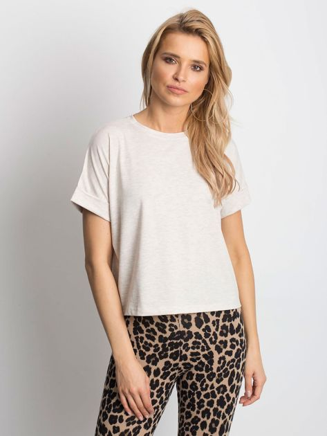 Beżowy melanżowy t-shirt Woodland