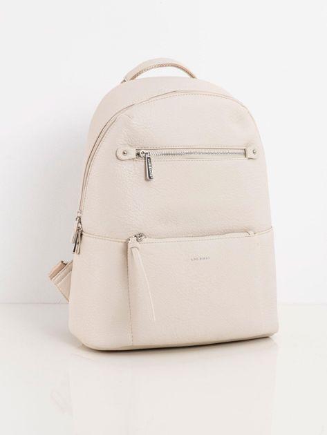 Beżowy plecak damski z kieszeniami