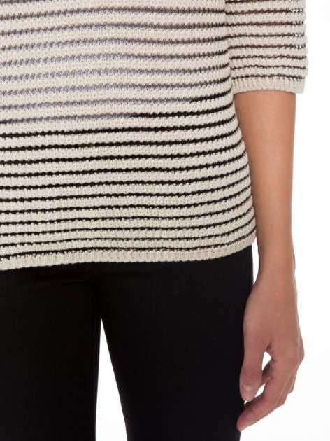 Beżowy półtransparentny sweter w prążki                                  zdj.                                  6