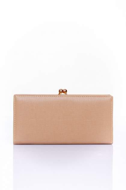 Beżowy portfel z biglem efekt saffiano                                   zdj.                                  1