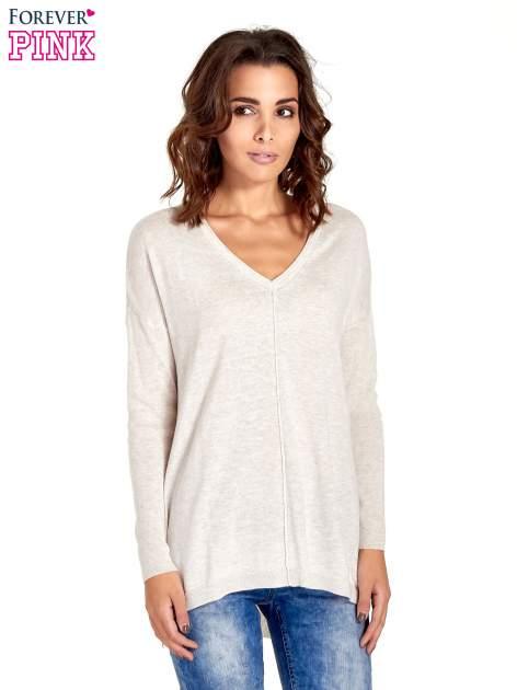 Beżowy sweter V-neck z rozporkami                                  zdj.                                  1