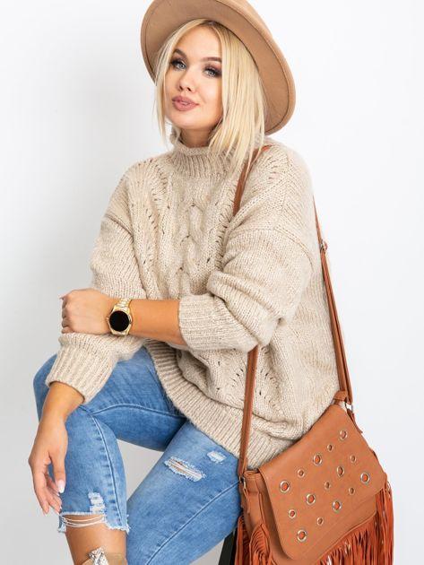 Beżowy sweter plus size Bridge                              zdj.                              5