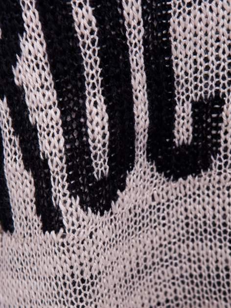 Beżowy sweter z nadrukiem i efektem destroyed                                   zdj.                                  5