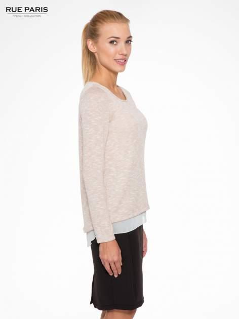 Beżowy sweter z rozcięciem z tyłu                                  zdj.                                  3