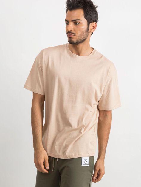 Beżowy t-shirt męski Overload