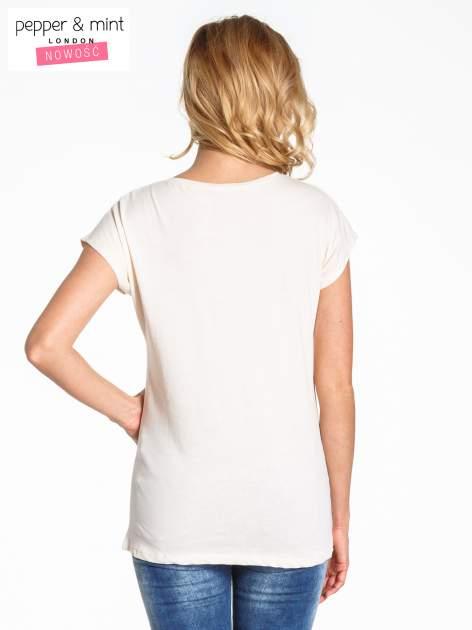 Beżowy t-shirt z nadrukiem JOY OF LIFE                                  zdj.                                  4