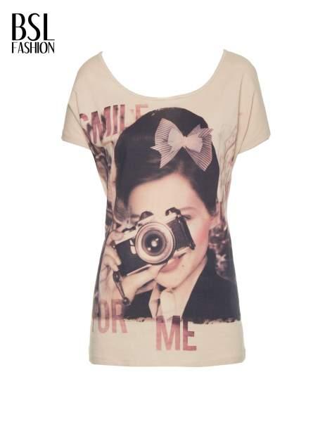 Beżowy t-shirt z nadrukiem SMILE FOR ME                                  zdj.                                  8