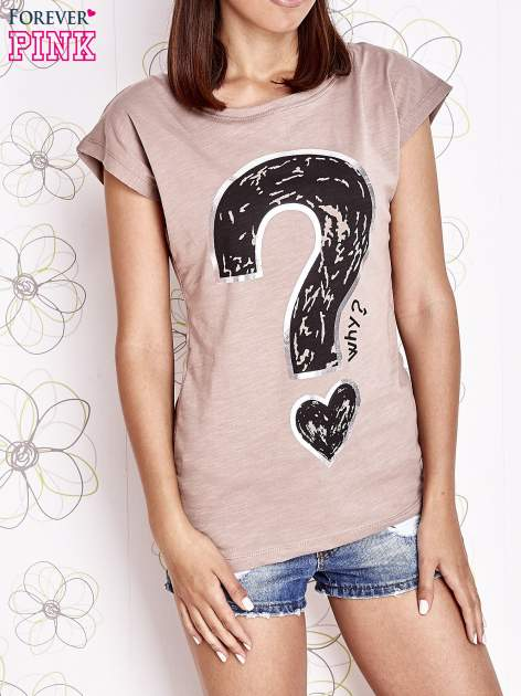 Beżowy t-shirt z nadrukiem znaku zapytania