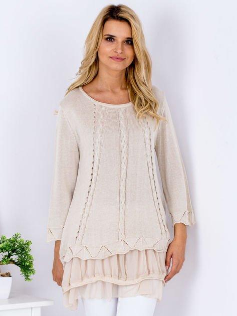 Beżowy warstwowy sweter                               zdj.                              1