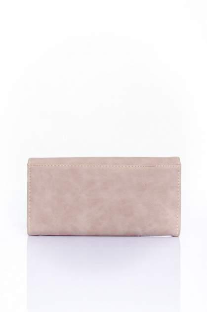 Beżowy zamszowy portfel z geometrycznym motywem                                  zdj.                                  2