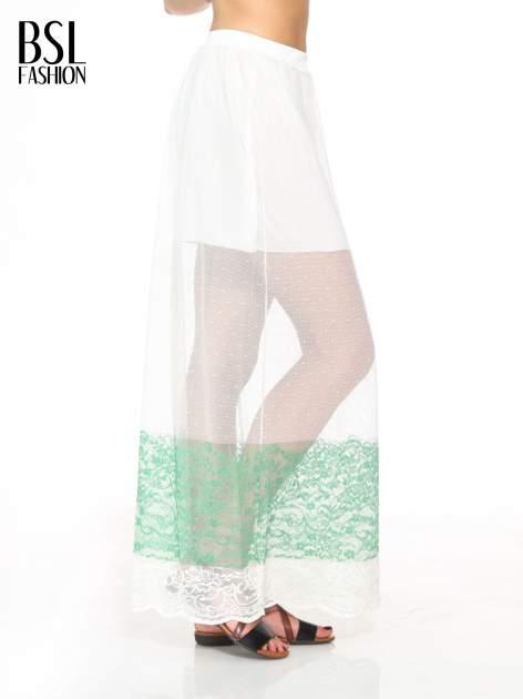Biała ażurowa spódnica z zielonym pasem                                  zdj.                                  3