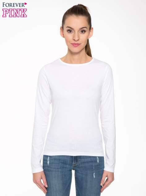 Biała bawełniana bluzka typu basic z długim rękawem