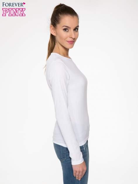 Biała bawełniana bluzka typu basic z długim rękawem                                  zdj.                                  3