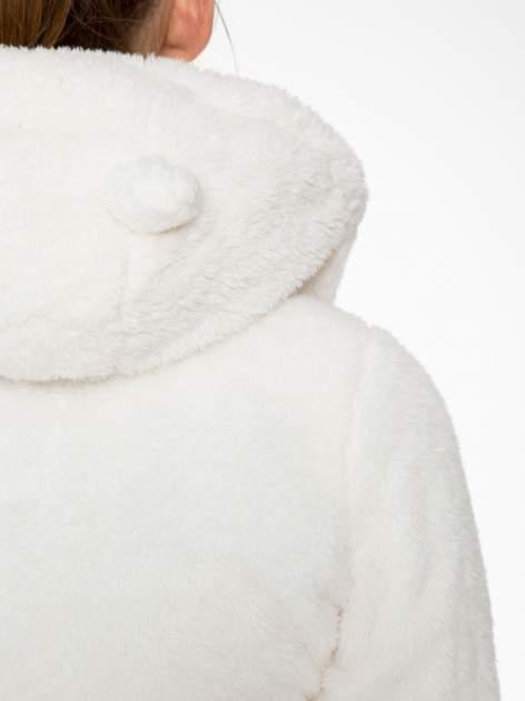 Biała bluza misiek z kapturem i pomponami                                  zdj.                                  12