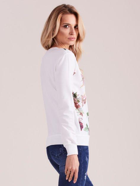 Biała bluza retro w kwiaty                              zdj.                              4
