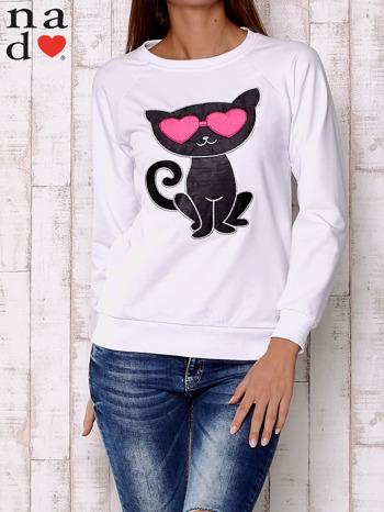 Biała bluza z aplikacją kota