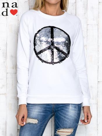 Biała bluza z dwustronną naszywką z cekinów                                  zdj.                                  5