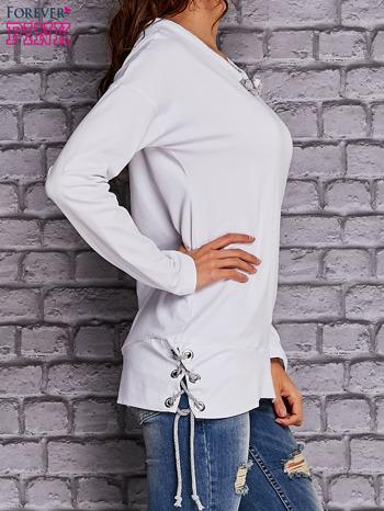 Biała bluza z wiązaniami                                  zdj.                                  3