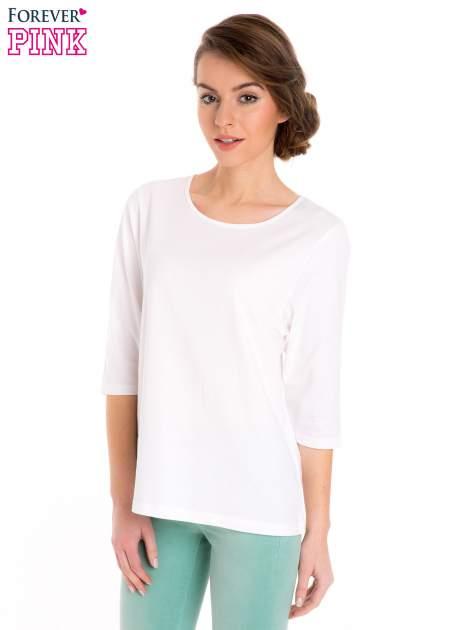 Biała bluzka basic z rękawem 3/4                                  zdj.                                  1