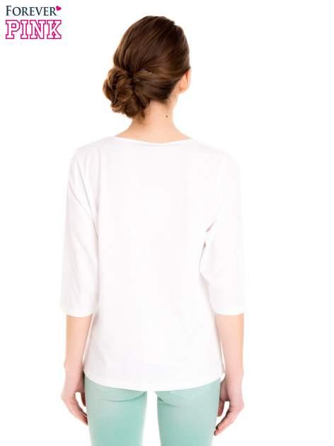 Biała bluzka basic z rękawem 3/4                                  zdj.                                  4