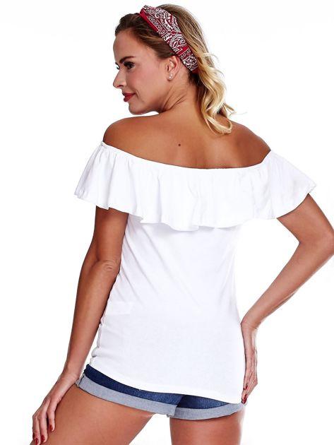 Biała bluzka hiszpanka z falbaną                              zdj.                              2