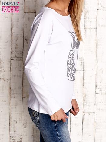 Biała bluzka z aplikacją w kształcie sowy                                  zdj.                                  3